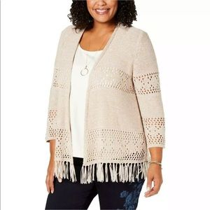 Style & Co. Womens Open Front Cardigan Sweater 3X